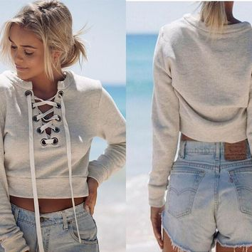 Deep V long-sleeved casual sweater
