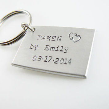TAKEN by Keychain, Engagement Gift, Boyfriend girlfriend jewelry, Anniversary Gift, Personalized