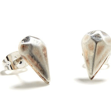 Bing Bang NYC - Diamond Drop Studs / Silver