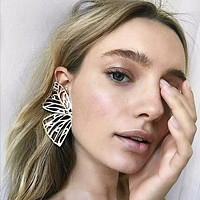 Simple Fashion Boho Exaggeration Hollow Butterfly Stud Earrings Women Accessories