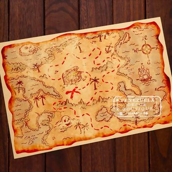 Pirate Adventure Treasure Hunt Map Classic Vintage Retro Kraft Decorative DIY Poster Maps Wall Sticker Home Bar Posters Decor