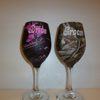 bride and groom camo wine glasses for rustic wedding processed in Muddy Girl and Next camo hydrographics