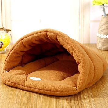 PEAPS2 Hot! Pet Cat Bed Small Dog Puppy Kennel Sofa Polar Fleece Material Bed Pet Mat Cat House Cat Sleeping Bag Warm Nest High Quality