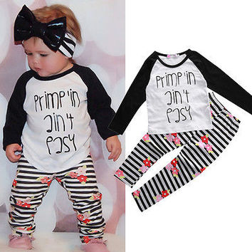 Boutique Kids Baby Toddler Girls Clothes Set T-shirt Tops Pants Leggings Outfits Children Autumn Spring Clothing Outfit