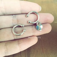 2 Body Piercing Holographic, Body Jewelry, Nose Ring, Belly Button Ring, Rhinestone piercing, Turquoise Belly Button