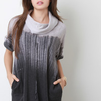 Ombre Turtleneck Short Dolman Sleeves Tunic Top