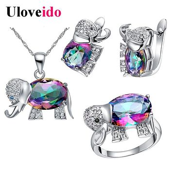 Uloveido Elephant Baby and Kids Jewelry Sets Silver Plated Set Children Jewelry Crystal Necklace Earrings Ring Conjuntos T485