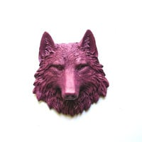 Faux Taxidermy Small Wolf Head Wall Hanging Wall Mount: Willa the Wolf in dark raspberry