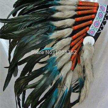 PEAPON Free Shipping turquoise and black handmade Indian Headdress feather headdress Original Costume headdress war bonnet