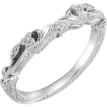 14K White .05 CTW Diamond Hand-Engraved Band for 4.5mm Cushion Engagement Ring