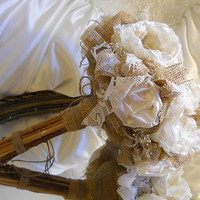 """12"""" Large Size, Bridal Bouquet, Burlap and Ivory Peony, handmade ivory silk peonies, pearls, lace, babies breath and stem handle."""