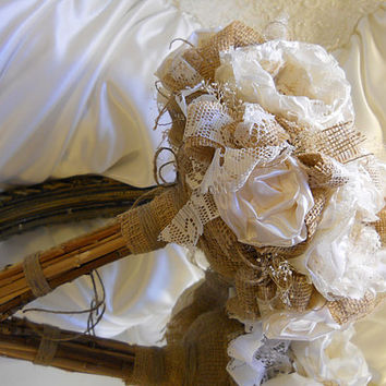 "12"" Large Size, Bridal Bouquet, Burlap and Ivory Peony, handmade ivory silk peonies, pearls, lace, babies breath and stem handle."