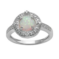 Sterling Silver Lab-Created Opal & Diamond Accent Halo Ring (White)