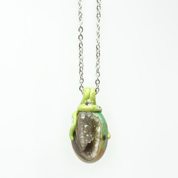 Avocado Green Drusy Geode Necklace with Sparkling Crystal on Stainless Steel Chain