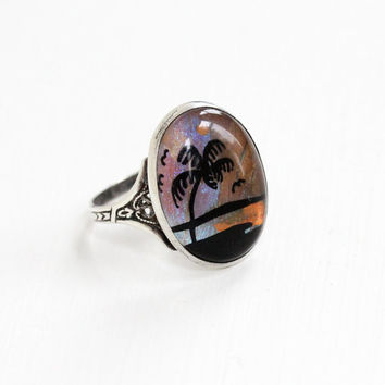 Vintage Sterling Silver Blue Morpho Butterfly Wing Tropical Ring - Art Deco 1930s Filigree Size 8 Palm Tree Souvenir Sunset Beach Jewelry