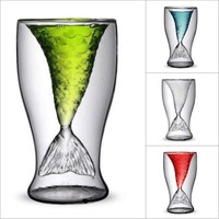 100ml Crystal Mermaid Tail Cup Transparent Glass Fish Tail Wine Cup Heat-resisting Glass Bar Cups