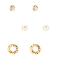 FOREVER 21 Embellished Cutout Stud Set Gold/Clear One