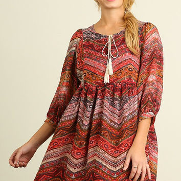 Fall Festival Dress - Red Mix