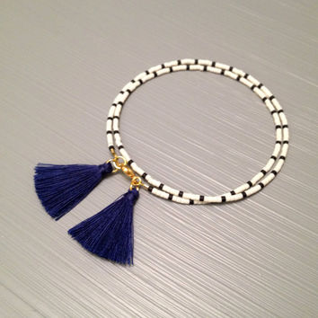 Blue White Nautical Bracelet Summer Bracelet Tassel Bead Bracelet Wrap Bead Bracelet Anchor Bracelet