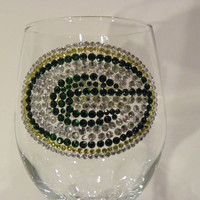 Green Bay Packers and Cheese Rhinestone Wine by ShimmerandBling
