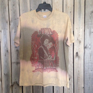 Bleached, tie dyed unisex Jimi Hendrix  T  shirt size large ...one of a kind t shirt