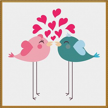Contemporary Valentine Hearts Pink and Blue Long Leg Love Birds Sew So Simple ™ Counted Cross Stitch or Counted Needlepoint Pattern