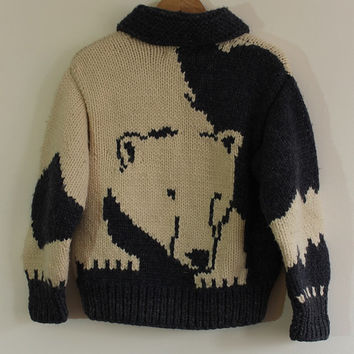 Vintage Longhouse Cowichan Polar Bear Mountain Sweater Jacket// Hand-Knit Wool// Men or Women Small