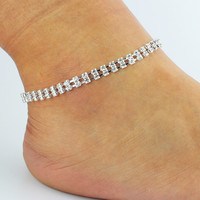 Jewelry Gift New Arrival Shiny Ladies Cute Stylish Sexy Rhinestone Double-layered Diamonds Anklet [6464851713]