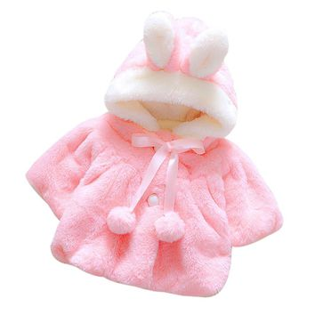 girls winter Jacket Thick Clothes plus velvet cape baby with a hood top cloak outerwear princess Faux Fur Hooded Coat