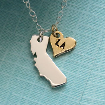 State of California Necklace with Bronze Heart, Sterling Silver, Los Angeles, Southern California, Northern California, California Love