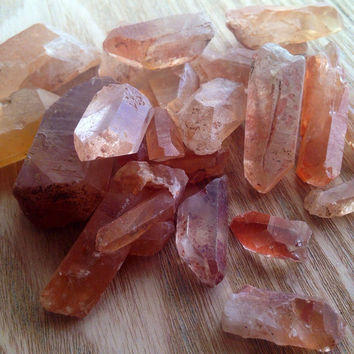 Tangerine Quartz Crystal Rough Stone Healing Crystals and Stones Rough Tangerine Crystal Crystal Raw Crystal Raw Quartz Mineral Stone Gem