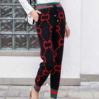 GUCCI Fashion New Autumn And Winter More Red Letter Print Sports Leisure Thick Keep Warm Trousers Pants Women Black