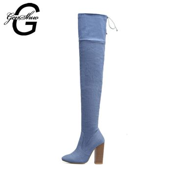 GENSHUO Women Boots Chunky High Heels 11CM Blue Denim Over The Knee High Boots for Women Elastic Band Size 35-40