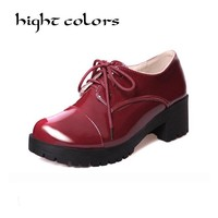 2017 Classic Ladies Work Office Shoes Black Patent Leather Low Heel Lace Up Round Toe Oxfords For Women Booties Burgundy Cheap