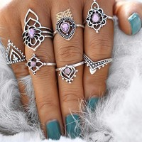 Iridescent Lavender Ring + Midi Ring Set