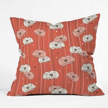 Heather Dutton Red Poppy Field 1 Outdoor Throw Pillow