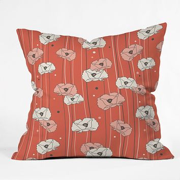 Heather Dutton Red Poppy Field 1 Throw Pillow