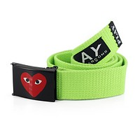 Play New fashion love heart eye print buckle couple letter print canvas belt Green