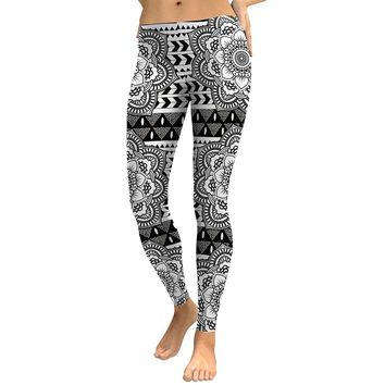 Mandala Flower Women's Black & White Slim High Waisted Elastic Printed Fitness Workout Leggings