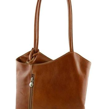 Genuine Leather Shoulder Bag and Backpack