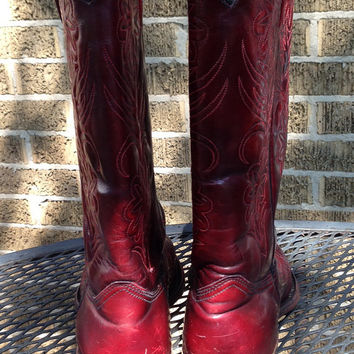 Boots - Vintage Boots Mens Dark Cherry Handtooled Vintage Leather Rodeo Drive Cowboy Boots