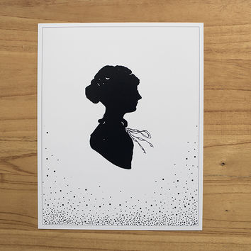 Belles and Ghosts — Victorian Woman Silhouette 8x10 Fine Art Print for Home Decor