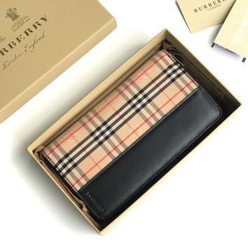 Kuyou Burberry  Fashion Women Men Gb19531 40780591  Small Scale Check And Leather Ziparound Wallet
