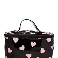 FOREVER 21 Heart Print Makeup Bag Black/Pink One