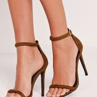 Missguided - Rounded Strap Barely There Sandal Green