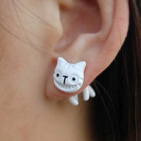 Cute Colorful 3D Animal Cat  Smiley Earrings studs