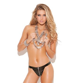 Plus Size Zip Up Vinyl Thong