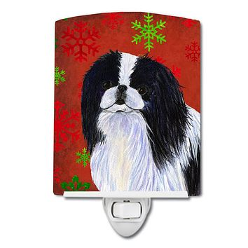 Japanese Chin Red and Green Snowflakes Holiday Christmas Ceramic Night Light SS4674CNL