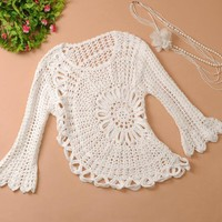 Lace is hollow-out trumpet sleeve knit