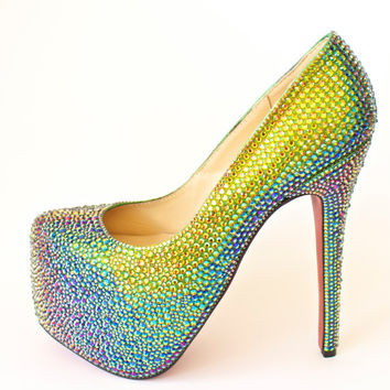 Vitrail Medium Crystal Strass Wedding Pump Heels Shoes made with Swarovski Elements Size 37 US 7
